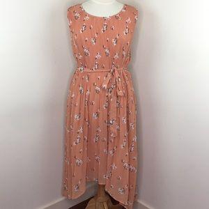 Ava & Viv Peach Orange Pleated Dress